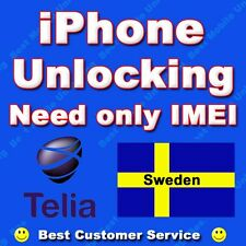 Unlock iPhone 4 4S 5 5S 5C 6 6+ TELIA Sweden Support All IMEIs