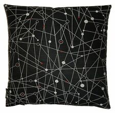 Pillow with Unika Vaev MOLECULAR atomic mid-century modern fabric black