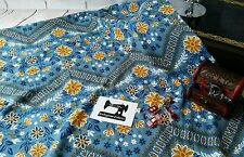 1M blue floral chevron double brushed poly lycra 96/4 fabric 4 way stretch knit