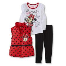 Disney Minnie Mouse Girl Red Puffer Vest Shirt Top Pants Winter Outfit/Set 5T