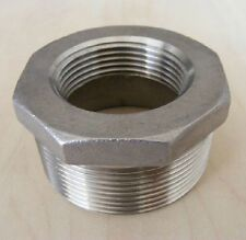 "2pcs 1"" Male x 1/2"" Female BSPP 304 Stainless Steel Pipe Reducer Bushing"