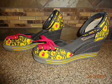 Womens Sz 7.5M nanette lepore NL Wedge Lace Toe Grey/Yellow/Pink Shoes
