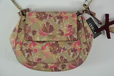 Guess Marian Pink Purple Floral Faux Leather Saddle Crossbody Purse Handbag New