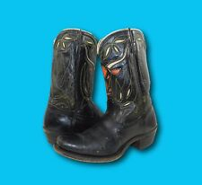 Vintage 1950's ACME Black Leather Cut-Out Steer Cowboy Pee Wee Boots