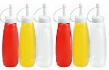 6x Condiment Dispenser Ketchup Red Sauce Mustard Plastic Squeezy Bottle With Cap