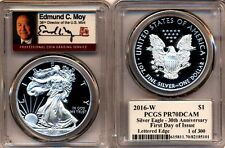 2016 W PROOF SILVER EAGLE PCGS PR70 DCAM MOY SIGNED FIRST DAY OF ISSUE 1 OF 300
