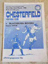 The Official Programme Of Chesterfield Football Club & Blackburn Rovers 1980