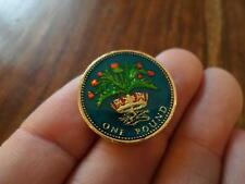 LUCKY CHARM VINTAGE ENAMELLED ONE POUND COIN 1984. BIRTHDAY CHRISTMAS XMAS GIFT