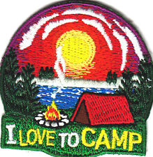 """I LOVE TO CAMP"" - Iron On Embroidered Patch - Vacation, Outdoors, Woods"