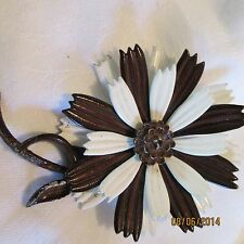 Vintage Signed H in Double Heart Brown White Enamel Flower Brooch Pin Jewelry