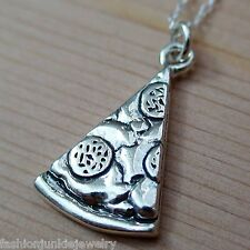 Pizza Slice Necklace - 925 Sterling Silver - Pizzeria Pie Pepperoni Friends NEW