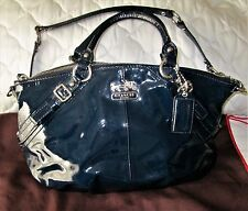 COACH MADISON NAVY-BLUE PATENT LEATHER SHOULDER BAG & COACH DUSTCOVER 15921