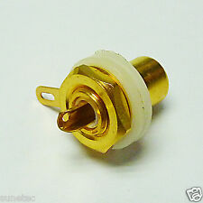 2 Gold Plated RCA Panel Mount Chassis White Socket Phono Female Jack Connector