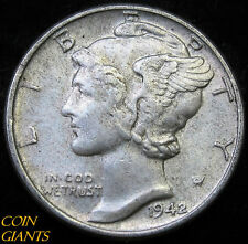 1942-P Winged Head Liberty Mercury Dime AU/BU 10c Philadelphia Coin Nice