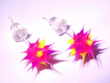 Boucles d'Oreilles Fluo Virus Bijoux Rose Pink Earrings