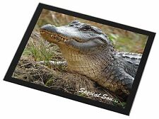 Crocodile 'Special Son' Black Rim Glass Placemat Animal Table Gift, SS-CR1GP