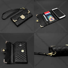 Luxury PU Leather Diamond Flip Wallet Case Cover For Samsung Galaxy S5 V - Black