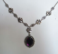 CAMELLIA FILIGREE VICTORIAN STYLE PURPLE ACRYLIC CRYSTAL SILVER PL NECKLACE CF