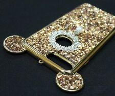 For iPhone 7+ PLUS GOLD Sparkling Rhinestones Pearl Diamond TPU Mouse Ears Case