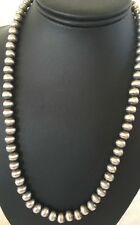 Navajo Pearls Classic 8 mm Sterling Silver Bead Necklace 21""