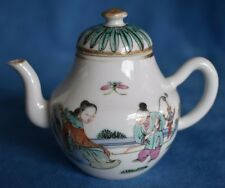 Antique Chinese Export Rose Famille Verte Canton Medallion Miniature Teapot