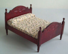Dolls House Furniture: Mahogany Wooden Double Bed  in 12th scale