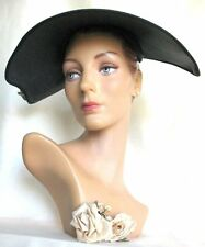 "Stylish! Vintage 50's ""New Look"" Asymmetrical Brim Hat with Flowers Ex!"