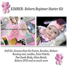 REBORN Starter Beginner Kit, Genesis paints, Mohair, DVD, DOLL KIT- KIMBER