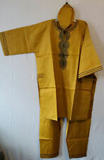 Men Clothing African Traditional Pant Suit Brocade Print Mustard Free Size