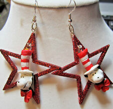 "Unique NORA WINN~THE CAT IN THE HAT~925 Earrings DR.Scuss"" Red Star CHRISTMAS"