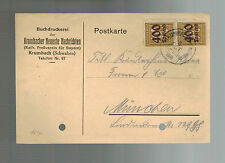 1923 Krumbacher Germany Inflation Postcard cover to Munich  800 RM