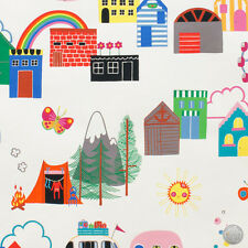 146121388 - Monkey's Bizness Camp Grounds Natural Fabric by the Yard Rainbow Kid