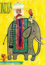 Visit India Elephant by Airplane Vintage Travel Art Poster Advertisement