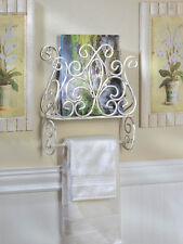 Shabby Cottage Chic Towel Holder Magazine Rack Shabby Distress Chic Wall Decor