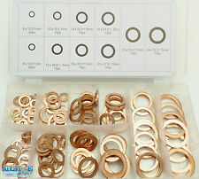 140 Pieces Copper solid washers Assorted kit 10 popular sizes HW180