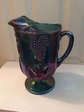 VINTAGE Indiana Iridescent Blue Carnival Glass Harvest Grape Pitcher