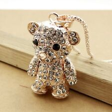 Fashion gold plating Crystal bear sweater chain long necklace CC268