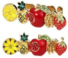 R128 Betsey Johnson Tutti Frutti Mixed Fruit Pineapple Two Dual Finger Ring US