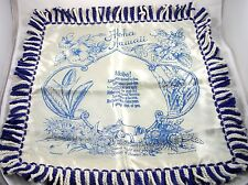Aloha Hawaii Satin Pillow Cover Blue and White Fringed Vintage HTF