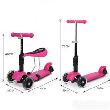 Pink Kids Children 3 IN 1 Lean to steer Kick Mini Scooter With Flashing Wheels
