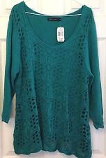 Crochet Front Cotton Sweater Plus XXL Turquoise Lined Casual Express Scoop Neck