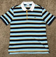 Men's Size 4 (Small) Lacoste Polo Shirt Short Sleeve Blue Striped