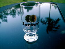 TUCHER  FOOTED  CROWN  GOLD COIN  LOGO   0.2 L GERMAN BEER GLASS  NICE SOUVENIR
