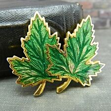 Vintage Gold Tone Double Green Maple Leaf Pin / Brooch