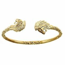 10K Yellow Gold West Indian Bangle w. Lion Ends