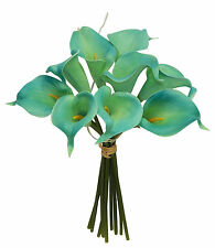 9 Tiffany Blue Calla Lily Bouquet ~ Real Touch Latex Silk Wedding Flowers Decor