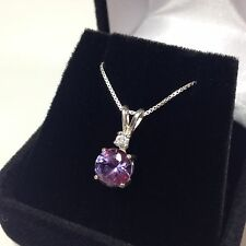 BEAUTIFUL 2.5ct Alexandrite & White Sapphire Sterling Silver Necklace NWT 18""