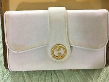 AUTHENTIC VINTAGE GUCCI PURSE W GUCCI BOX IVORY WITH GOLD ACCENTS