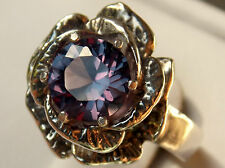 purple raspberry alexandrite flower antique 925 sterling silver ring size 4.5