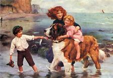 Oil painting arthur john elsley - Across the river little girl on dog on canvas